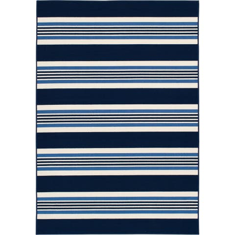 Gainsville McGregor Stripe Blue and Ivory Woven Area Rug