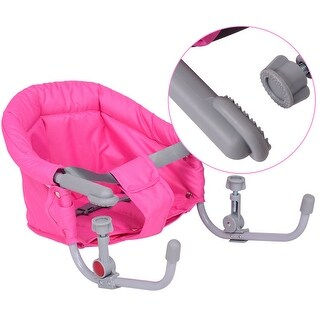 Gymax Portable Folding Baby Hook On Clip On High Chair Booster Fast Table Seat Pink