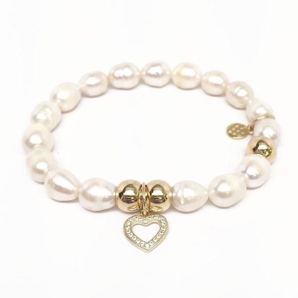 "Freshwater Pearl Heart Charm 7"" Bracelet"