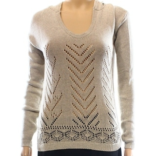 Wild Pearl NEW Beige Size Small S Junior V-Neck Open Knit Hooded Sweater