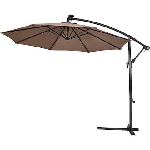 10Ft Patio Solar Umbrella Outdoor LED Sun Shade Offset W/ Cross Base