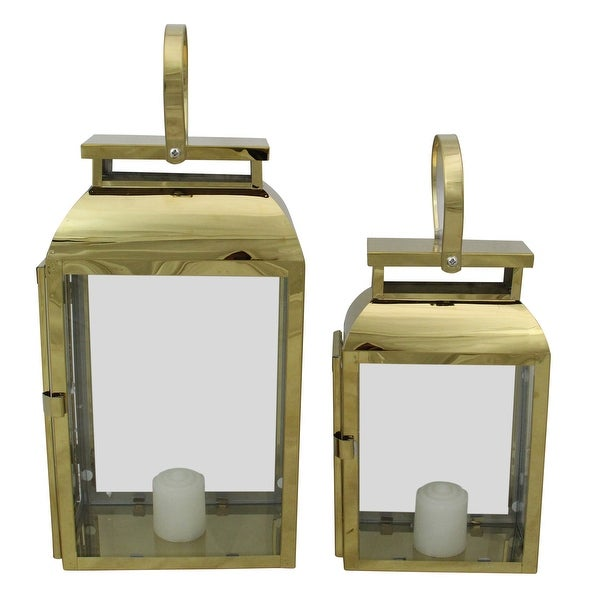 "Set of 2 Shiny Rectangular Metal Candle Lanterns 16"" - N/A"