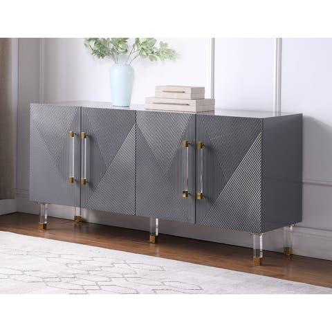 Best Master Furniture 65 Inch Lacquer Contemporary 4 Door Sideboard Cabinet