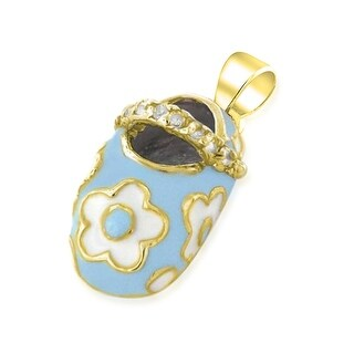 Bling Jewelry Gold Plated CZ Blue Enamel Floral Baby Shoe Pendant Silver
