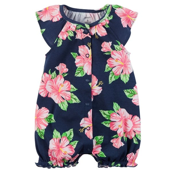 Carters Baby Girls Printed Snap Up Romper