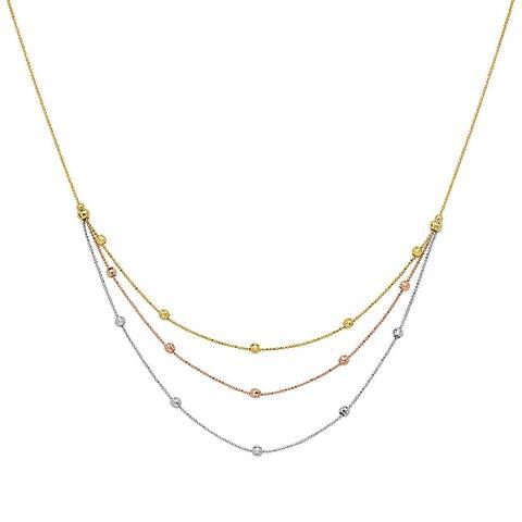 "Curata 14k Tri-color Gold Sparkle Cut Bead Bib Necklace, 17"""
