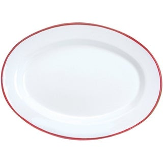 """Crow Canyon V94RED Vintage Oval Plate, 12"""" D, Red Rim"""