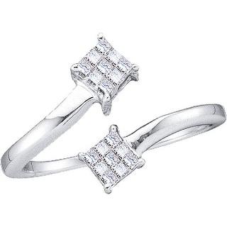 1/5Ctw Princess Diamond Ladies Fashion 2Square Ring White-Gold 14K