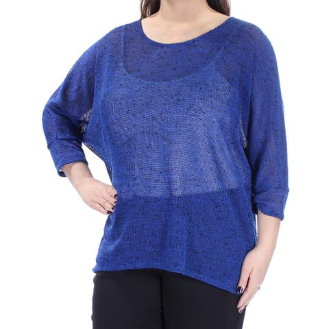 ALFANI Womens Blue 3/4 Sleeve Jewel Neck Hi-Lo Sweater Size XL