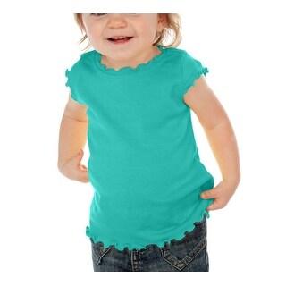 Kavio! Infants Lettuce Edge Scoop Neck Cap Sleeve Top