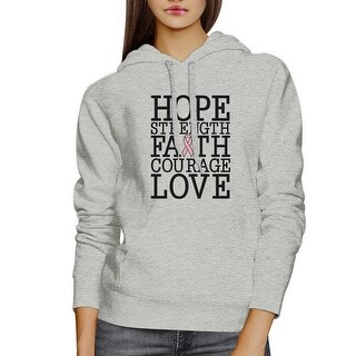 Hope Strength Faith Love Breast Cancer Support Hoodie Unisex Grey