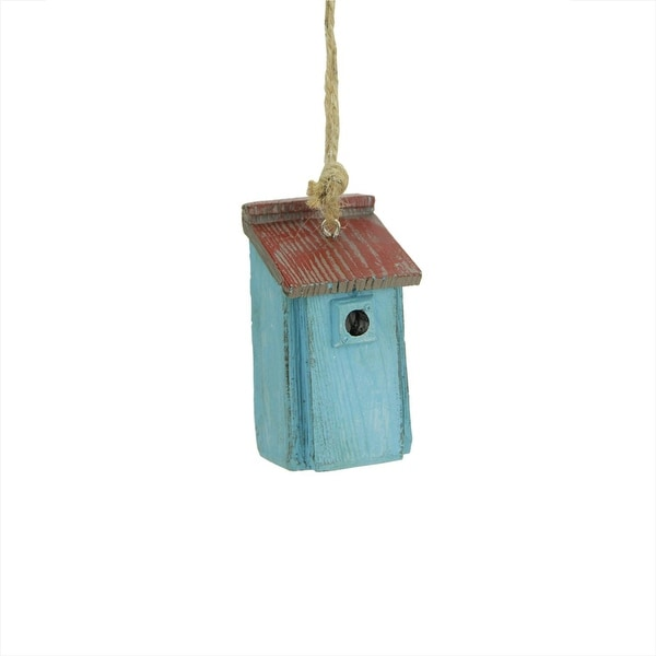"2.5"" Rustic French Blue and Red Birdhouse Christmas Ornament"
