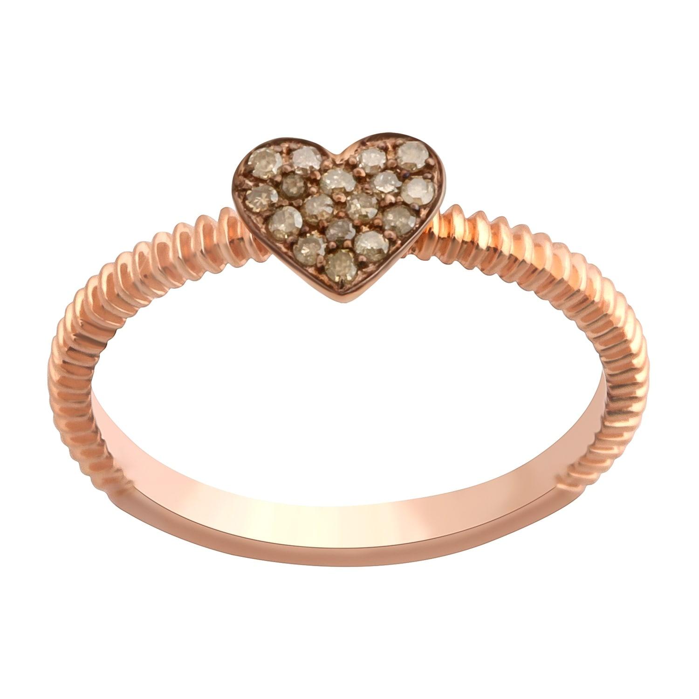 Prism Jewel Round Brown Diamond Heart Shaped Valentine Ring - Thumbnail 0