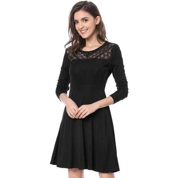 a794e01698eb5 Shop Women Diagonal Lace Panel Long Sleeves Skater Dress - Free ...