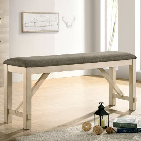 Furniture of America Caduceus Transitional Ivory Counter Bench