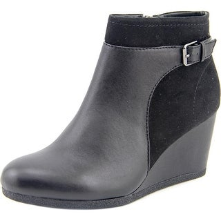 Giani Bernini Kynston Women Open Toe Leather Black Wedge Heel