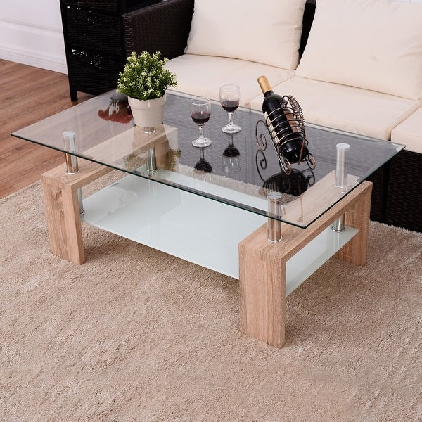 Costway Rectangular Tempered Glass Coffee Table W/Shelf Wood Living Room  Furniture Part 95