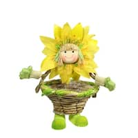 15'' Yellow, Green and Tan Spring Floral Sunflower Girl with Basket Decorative Figure - Yellow