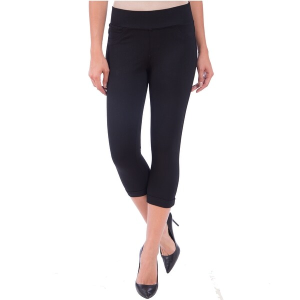 Lola Jeans Michelle-JBLK, Mid Rise Ponte Jersey Pull On Capri