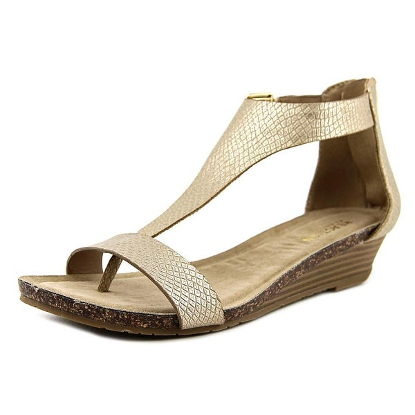 Kenneth Cole Reaction Great Gal Women Open Toe Synthetic Gold Wedge Sandal