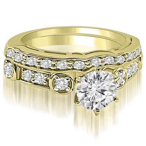 1.00 cttw. 14K Yellow Gold Vintage Round Cut Diamond Bridal Set