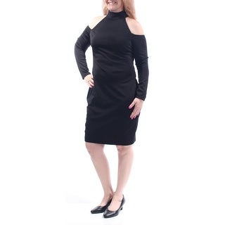 Womens Black Long Sleeve Above The Knee Sheath Cocktail Dress Size: 14