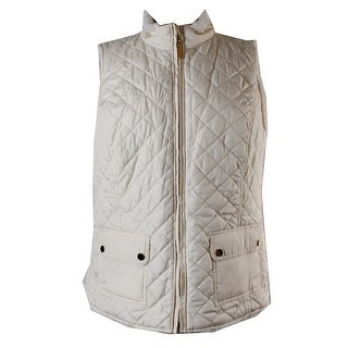 Charter Club Cream Sleeveless Faux-Fur-Lined Puffer Vest M