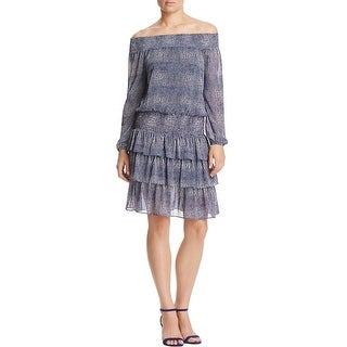 MICHAEL Michael Kors Womens Cocktail Dress Chiffon Reptile Print