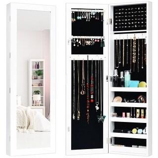 Costway Door Mounted Mirrored Jewelry Cabinet Storage Organizer