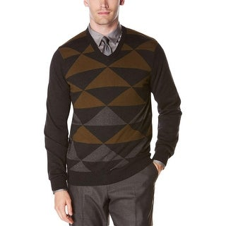 Perry Ellis Mens Intarsia Sweater V-Neck Pattern (4 options available)