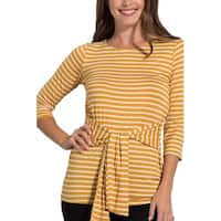 Sweet Claire Yellow Womens Size Small S Striped Tie Front Knit Top