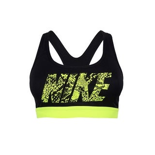 Nike Women's Pro Dri-Fit Brand Sports Bra - black/yellow - XS