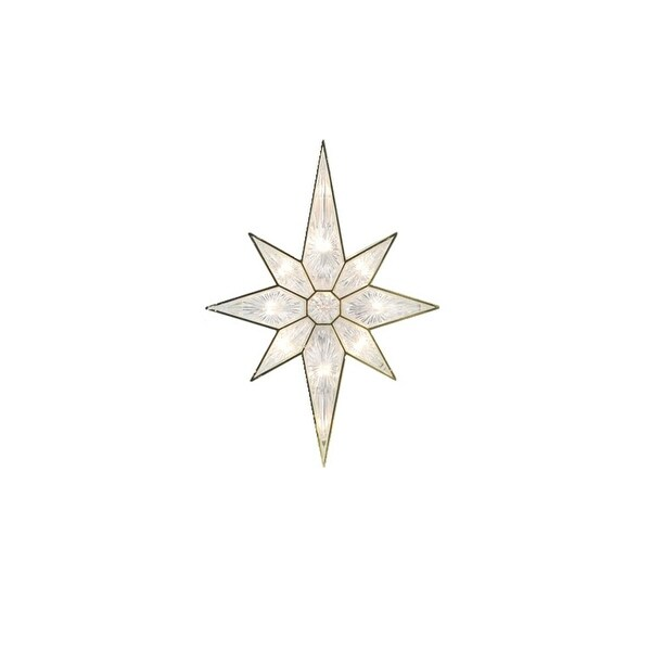 "11"" Lighted Faceted Gold Bethlehem Star Christmas Tree Topper - Clear Lights"