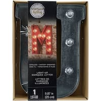 """Silver Metal Marquee Letter 9.875""""-U"""
