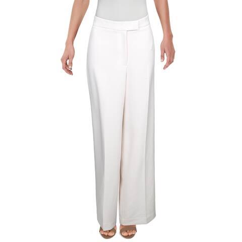 Anne Klein Womens Wide Leg Pants Textured High Rise - Anne White