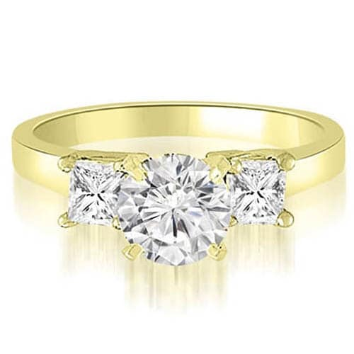 0.80 cttw. 14K Yellow Gold Round And Princess 3-Stone Diamond Engagement Ring