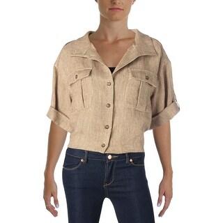 Lauren Ralph Lauren Womens Blazer Linen Cuffed Sleeve