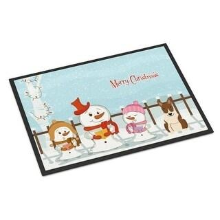 Carolines Treasures BB2468MAT Merry Christmas Carolers Bull Terrier Brindle Indoor or Outdoor Mat 18 x 0.25 x 27 in.
