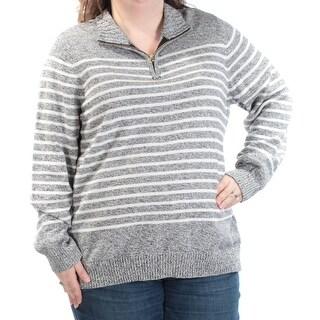 KAREN SCOTT Womens New 1229 Gray Ivory Zip Neck Long Sleeve Sweater 2X Plus B+B