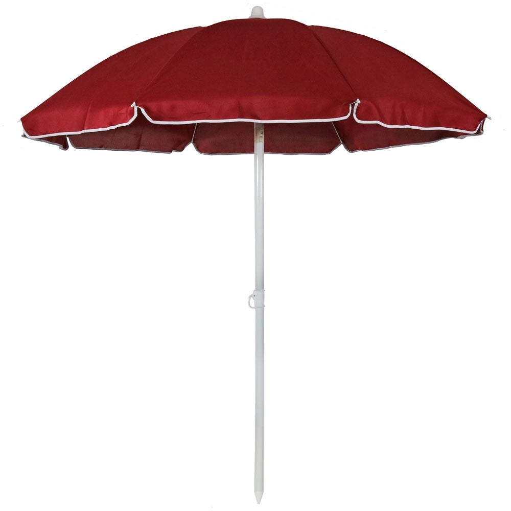 Sunnydaze Steel 5 Foot Beach Umbrella with Tilt Function, Color Options Available - Thumbnail 0