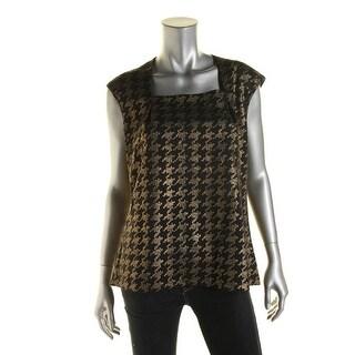 Kasper Womens Ponte Metallic Pullover Top