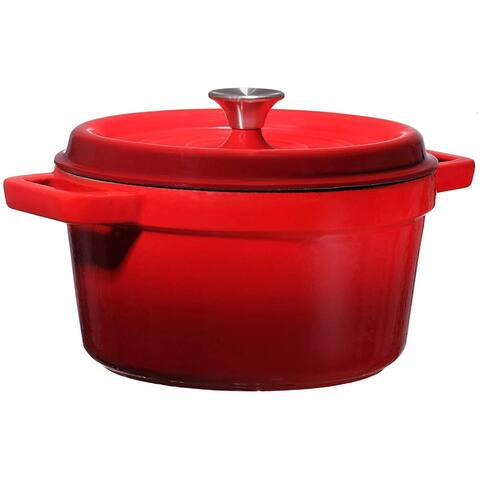 Bruntmor, Enameled Cast Iron Dutch Oven Casserole Dish 6.5 quart Large Loop Handles & Self-Basting Condensation Ridges On Lid