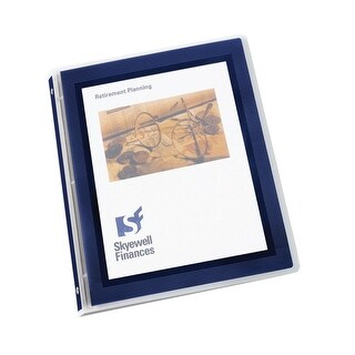 Avery Flexi-View Binder with Round Ring, 1 in, Holds 175 sheets, Navy Blue