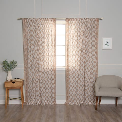 Aurora Home Floral Medallion Cotton Voile Curtains - 84
