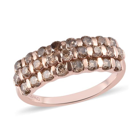 Vermeil Rose Gold Over 925 Silver White Diamond Cluster Ring Ct 1.3