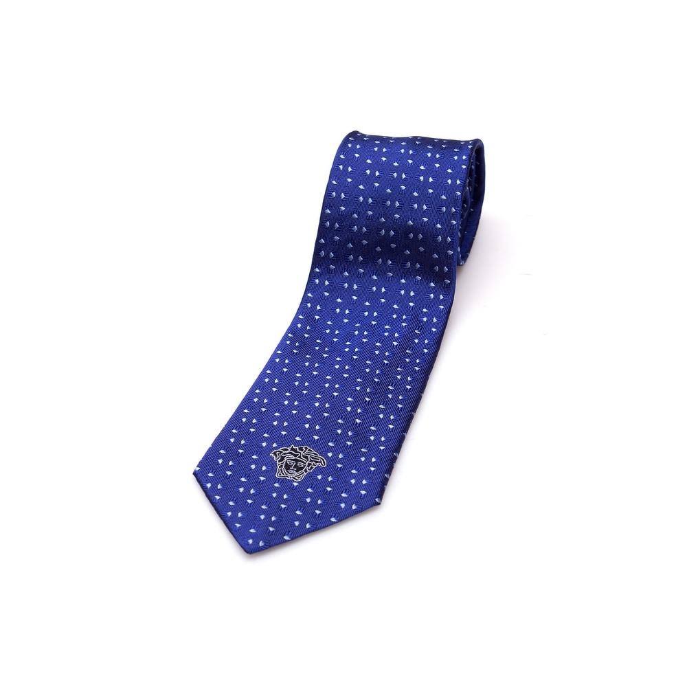 Versace Collection Men's Men's Slim Silk Neck Tie Blue - Thumbnail 0