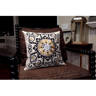 Set of 2 Handcrafted Cotton 'Jaipur Blossom' Cushion Covers  , Handmade in India