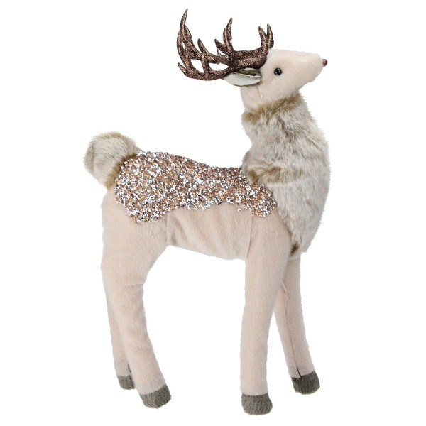 "13"" Champagne Gold Standing Deer Christmas Decoration"