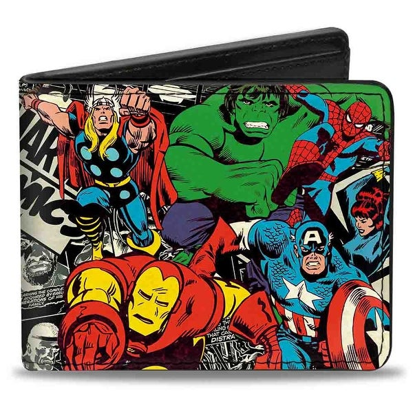 Marvel Comics 6 Retro Avengers Action Poses Marvel Comics Logo Comic Scenes Bi-Fold Wallet - One Size Fits most