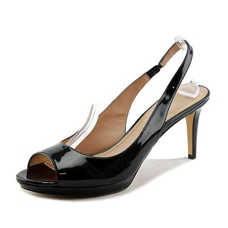 Enzo Angiolini Gladavi Women Open-Toe Patent Leather Black Slingback Heel